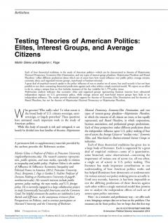 Testing Theories of American Politics: Elites, Interest Groups, and Average Citizens