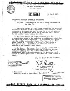 Justification for US Military Intervention in Cuba (Operation Northwoods)